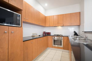 The Kitchen of the Three Bedroom Apartment at Boulevard Apartments.