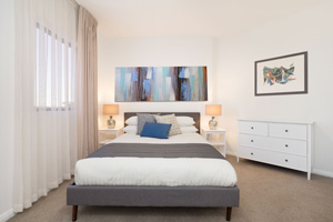 The Main Bedroom of the Three Bedroom Apartment at Boulevard Apartments.