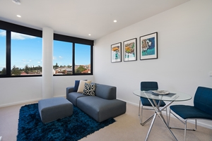 The Living Area of The Herald One Bedroom Apartment.