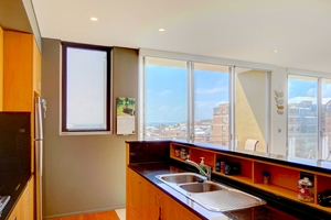 The Kitchen at The York Two Bedroom Oceanview Apartment at Newcastle Beach.