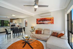 The Living Room of Centennial Terrace Apartments Superior 2 Bedroom Unit.
