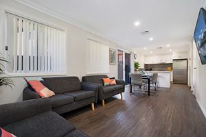 The Living Room of a 5 Bedroom Townhouse Apartment at Birmingham Gardens Townhouses.