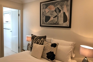 The Master Bedroom of a 3 Bedroom Townhouse Apartment at Adamstown Townhouses.