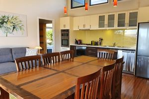 The Kitchen and Dining Room at Sanctuary Hill Retreat.